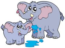 Female and baby elephants. Illustration Royalty Free Stock Photography