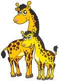 Female and baby giraffes. Illustration Royalty Free Stock Photo