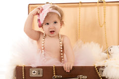 Female baby in the suitcase. Isolated on white background Royalty Free Stock Photography