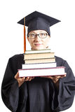 Female bachelor with eyeglasses in mantle holding books Royalty Free Stock Image