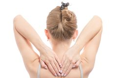 Female back of the hand on the spine royalty free stock photo