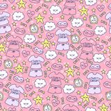Female background with funny clouds, hearts, stars, candy, alarm clock, sleep mask and pajamas. Pink seamless pattern for little princess. Female ornament Royalty Free Stock Photography