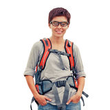Female with backpack Royalty Free Stock Image