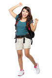 Female backpacker going on vacation with backpack. Portrait of female backpacker going on vacation with backpack Royalty Free Stock Image