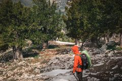 Backpacker on the way to Tahtali mountain. Turkey. Female backpacker looking at evergreen landscape of Tahtali mountain Stock Images