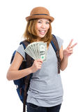 Female backpacker showing travel fee. Isolated on white stock photography