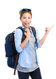 Female backpacker with sunglasses Royalty Free Stock Image