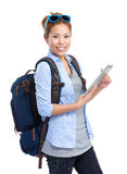 Female backpacker use tablet Royalty Free Stock Photo