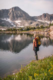 Female Backpacking. A young woman backpacking in Rocky Mountain National Park stock photos
