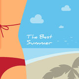 Female backside in a red swimsuit on a beach. Beautiful background for your design stock illustration