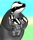Badger illustration. Badger holding her kits protectively Royalty Free Stock Photos