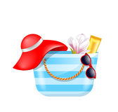 Female Bag with Beach Accessories. Set of Summer Design Elements. Illustration Vector Stock Photos