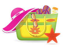 Female bag with beach accessories vector illustrat. Ion  on white background Stock Images
