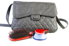 Female bag and cosmetics isolated Royalty Free Stock Images
