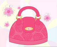 Female bag decorated with roses Royalty Free Stock Photos