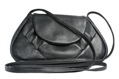 Female bag from a genuine leather of black colour Stock Photos