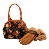 Female bag, gloves and scarf Royalty Free Stock Photography