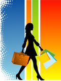 Female and bag in hand. On striped background royalty free illustration