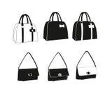 Female Bag Handbag. Bags icons set. Stock Images