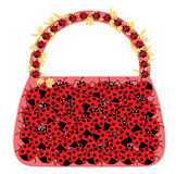 Female bag with ladybird. Isolated on a white background Stock Images