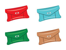 Female bags. A set of female bags of different colors on a white background Stock Photo