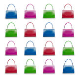 Female bags collection on white background Stock Photo
