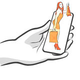 Female with Bags on Smartphone, Concept Stock Images