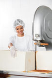 Female Baker With Bread Loaf At Cutting Machine Royalty Free Stock Images