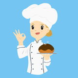 Female Baker Carrying a Chocolate Bread Bun Stock Photography