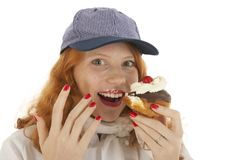 Female baker chef with pastry Royalty Free Stock Images