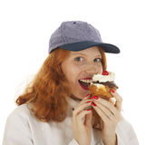 Female baker chef with pastry Stock Photography