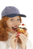 Female baker chef with pastry Royalty Free Stock Photos