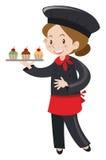 Female baker holding cupcakes Stock Photo