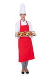 Female Baker Holding Fresh Bavarian Pretzel Stock Image
