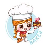 Female Baker_1. Illustration of cartoon character female baker stock illustration