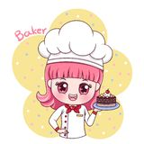 Female Baker_3. Illustration of cartoon character female baker stock illustration