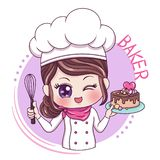 Female Baker_4. Illustration of cartoon character female baker vector illustration