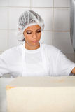 Female Baker Looking At Fresh Bread stock image