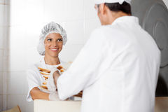 Female Baker Receiving Bread Waste From Male Colleague Stock Photos