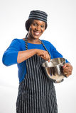Female baker with rolling pin Royalty Free Stock Photography