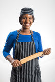 Female baker with rolling pin Royalty Free Stock Image