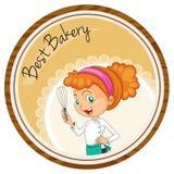 Female baker on round badge Royalty Free Stock Photo