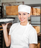 Female Baker Smiling While Carrying Dough Tray Royalty Free Stock Image