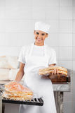Female Baker Stacking Packed Pizza Breads In Bakery Royalty Free Stock Photos