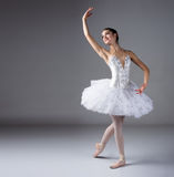 Female ballet dancer. Beautiful female ballet dancer on a grey background. Ballerina is wearing a white tutu and pointe shoes stock photos