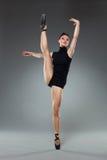 Female ballet dancer posing on one leg. Royalty Free Stock Image