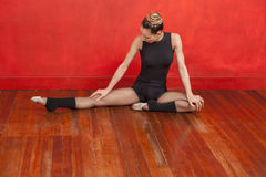 Female Ballet Dancer Practicing On Wooden Floor Royalty Free Stock Photos