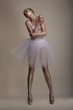 Seductive Woman in White Transparent Dress Tutu in Dramatic pose. Dreams Stock Image