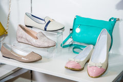 Female ballet flats are on the shelf, the new collection Stock Image