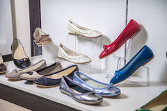 Female ballet flats are on the shelf, the new collection Stock Photos